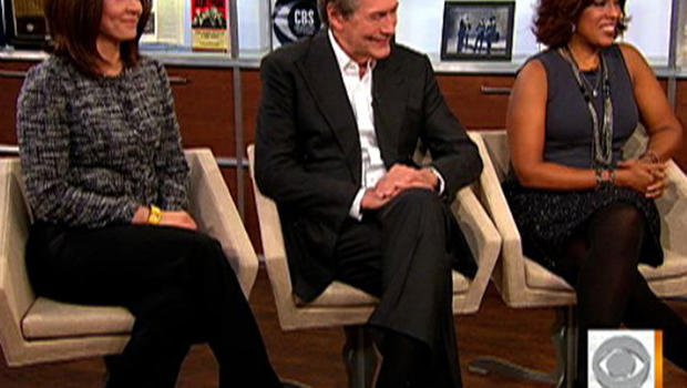 Erica Hill, left, Charlie Rose and Gayle King