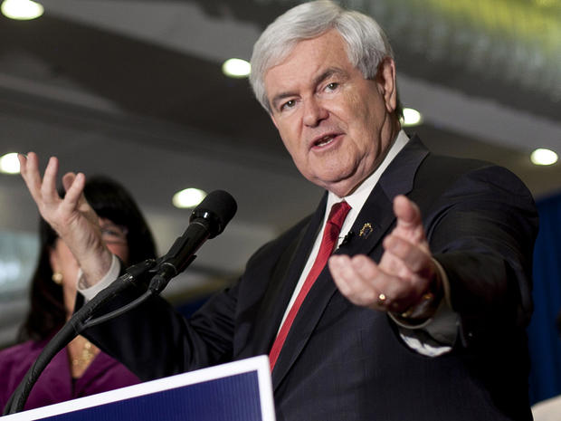 Former House Speaker Newt Gingrich speaks at his party on primary night Jan. 10, 2012, in Manchester, N.H. Former Massachusetts Gov. Mitt Romney finished first in the state's primary election.
