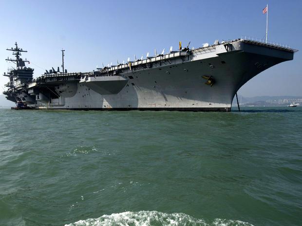 The USS Carl Vinson, a nuclear-powered aircraft carrier, is seen near Hong Kong Dec. 27, 2011.