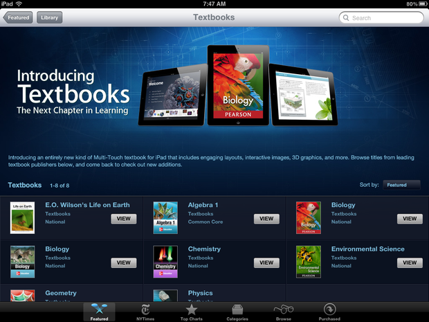 Apple's new textbook offerings in the iBookstore.