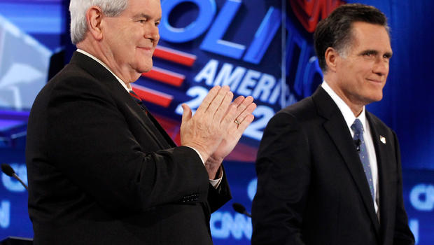 Former Speaker of the House Newt Gingrich and former Massachusetts Gov. Mitt Romney participate in a debate sponsored by CNN, the Republican Party of Florida and the Hispanic Leadership Network at the University of North Florida Jan. 26, 2012, in Jacksonv