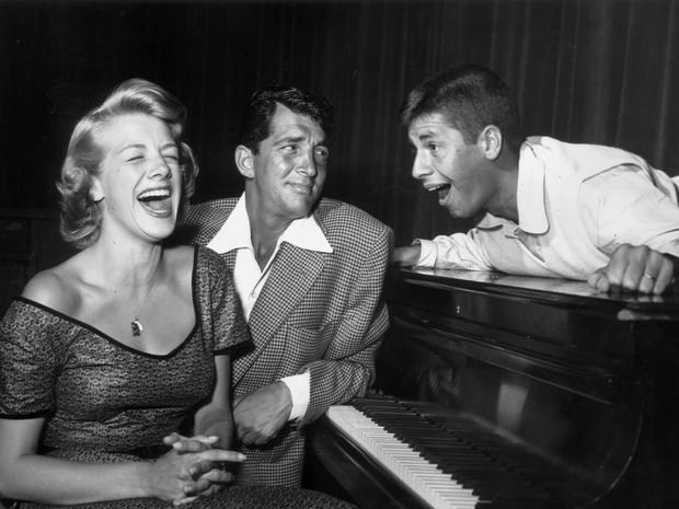 Rosemary Clooney appeared with Dean Martin and Jerry Lewis on The Colgate Comedy Hour circa 1955.