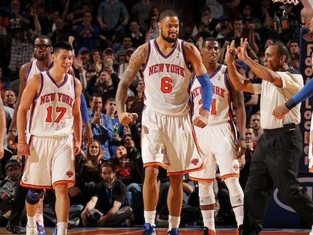 NEW YORK, NY - FEBRUARY 4: Amare Stoudemire #1, Jeremy Lin #17, Tyson Chandler #6, Iman Shumpert #21, and Carmelo Anthony #7 of the New York Knicks (L to R) react to the game action against the New Jersey Nets on February 4, 2012 at Madison Square Garden in New York City. NOTE TO USER: User expressly acknowledges and agrees that, by downloading and or using this photograph, User is consenting to the terms and conditions of the Getty Images License Agreement. Mandatory Copyright Notice: Copyright 2012 NBAE (Photo by Nathaniel S. Butler/NBAE via Getty Images)