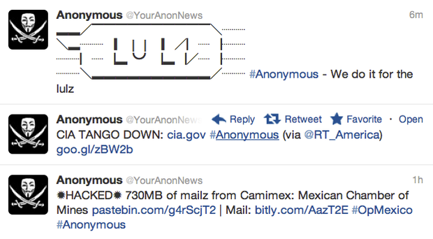 This Anonymous account publicized the CIA site outage with these messages on Twitter.