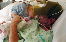 Baby born early so dying father can hug her