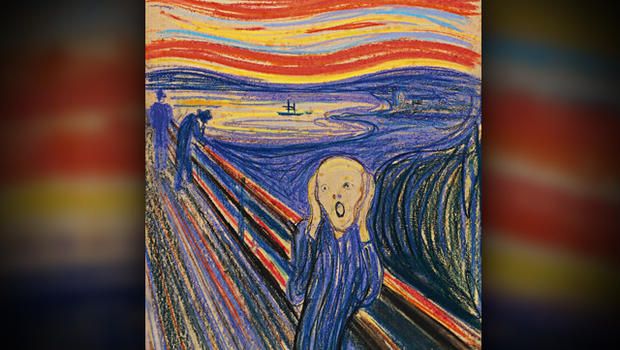 """Norwegian painter Edvard Munch's """"The Scream"""" is seen in this photo provided by Sotheby's. The work, which dates from 1895 and is one of four versions of the composition, will lead Sotheby's Impressionist & Modern Art Evening Sale in New York May 2, 2012."""
