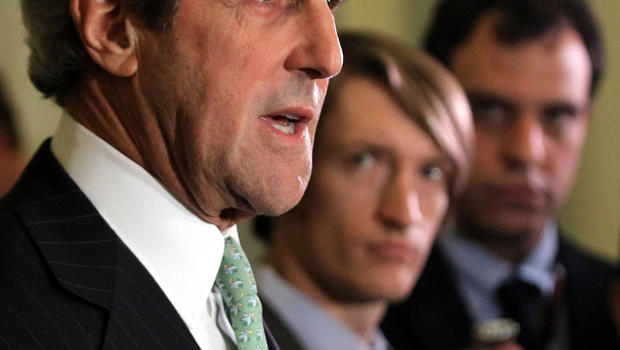 Sen. John Kerry, D-Mass., talks to reporters Nov. 21, 2011, on Capitol Hill in Washington.