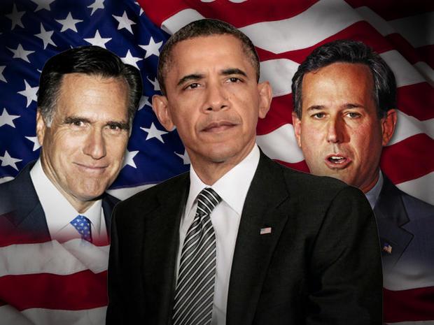 President Obama, Mitt Romney, Rick Santorum