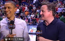Obama attends March Madness game with PM Cameron