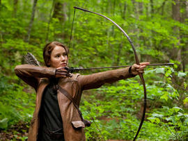 "Jennifer Lawrence as Katniss Everdeen in ""The Hunger Games."""