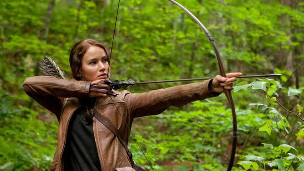 "Jennifer Lawrence as Katniss Everdeen in ""The Hunger Games."""