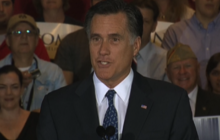 Romney takes on Obama in IL victory speech