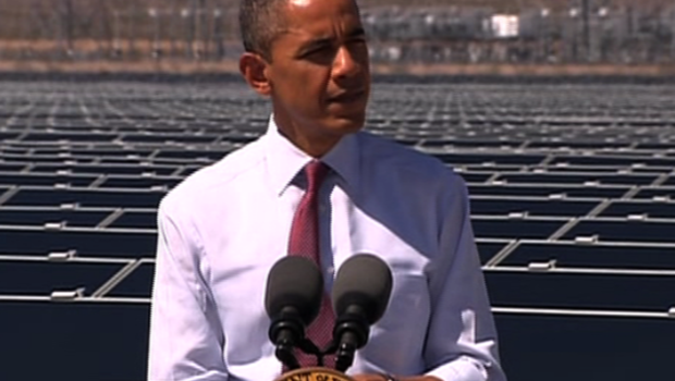President Obama at largest solar panel plant of its kind Wednesday, in Boulder City, Nev.