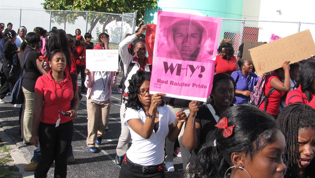Hundreds of students at Edison High School in the Little Haiti section of Miami walked out of class Friday morning in peaceful protest over Trayvon Martin shooting