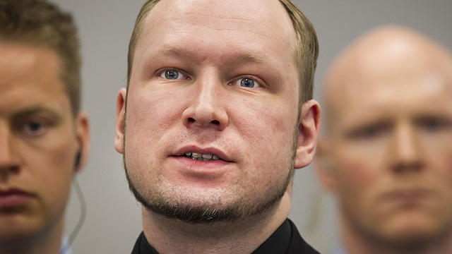 Defendant Anders Behring Breivik, centre, in court at the start of the 5th day of his mass killing trial in Oslo, Norway, April 20, 2012.