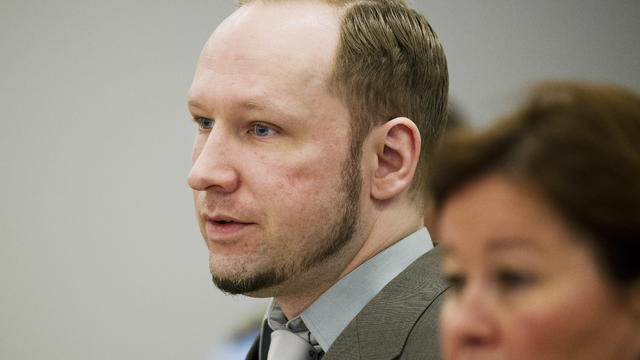 Anders Behring Breivik arrives in the courtroom in Oslo Tuesday April 24, 2012.