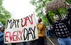 Occupy Wall Street participants gather to stage a May Day march at Bryant Park in New York May 1, 2012.