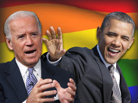 President Obama and Vice President Biden over rainbow flag