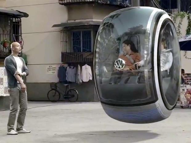 video of volkswagen concept hover car cbs news