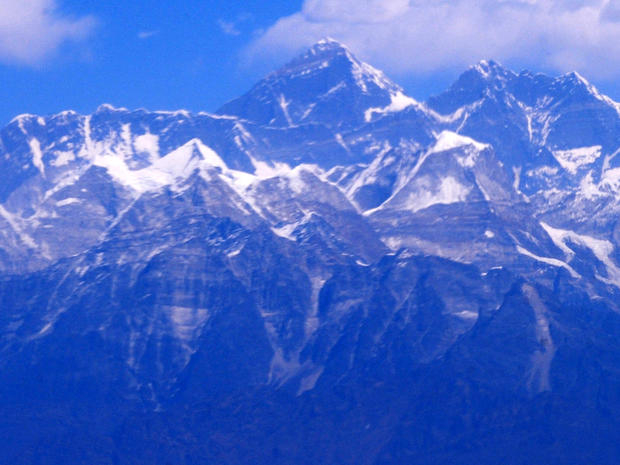 An aerial view of the Mount Everest range is seen Feb. 6, 2012, some 87 miles northeast of Kathmandu, Nepal.