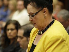 Loretta Rasmussen, the mother of murder victim, Sherri Rasmussen, gives her victim impact statement during the sentencing of former LAPD Det.  Stephanie Lazarus