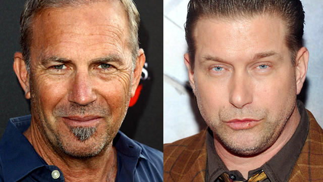 Actors Kevin Costner, seen attending a premiere May 21, 2012, and Stephen Baldwin, attending a premiere Jan. 10, 2012, are seen in this side-by-side image.
