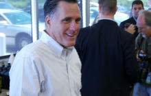 Romney jokes about protesters at bus tour stop