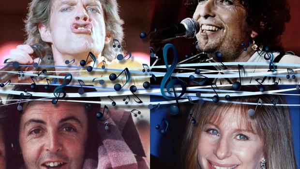 Mick Jagger, Barbra Streisand, Paul McCartney, Bob Dylan,