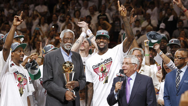 Bill Russell presents the most valuable player award to the Miami Heat's LeBron James