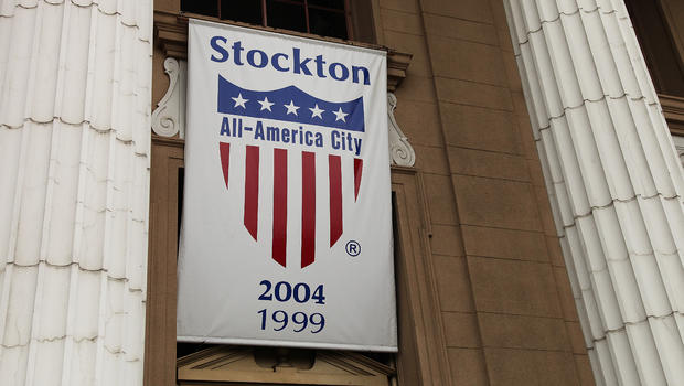 a banner proclaiming Stockton as an All-America city