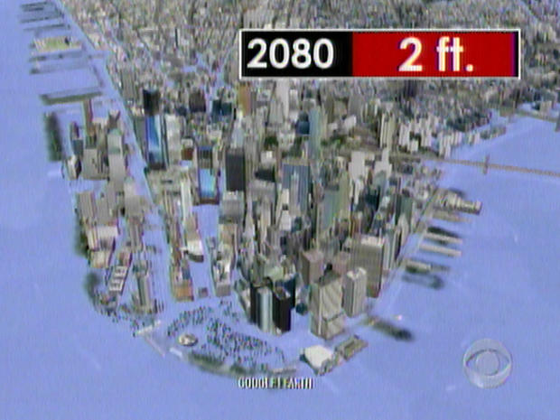 Fastrising Sea Levels Hit Atlantic Coast Hardest CBS News - Sea level rise map 2050