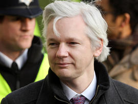 Julian Assange, the founder of the WikiLeaks whistleblowing website, arrives at Great Britain's Supreme Court Feb. 1, 2012, in London.