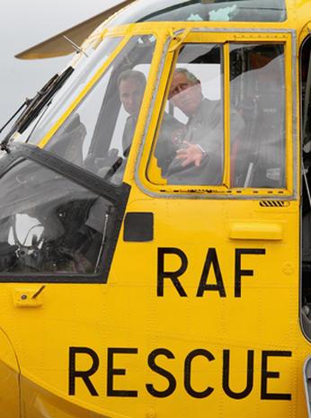 Prince Charles visits Prince William's RAF base
