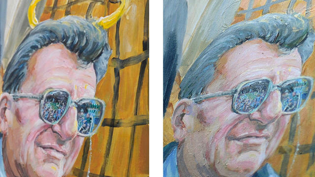 This combination of two photos shows a detail of a mural by Michael Pilato in State College, Pa., depicting a halo over the late Penn State football coach Joe Paterno on Jan. 23, 2012, left, and the halo removed by the artist on July 14, 2012.