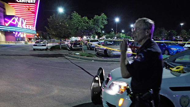 Aurora police officer outside Century 16 theater at Aurora Mall after carnage on July 20, 2012