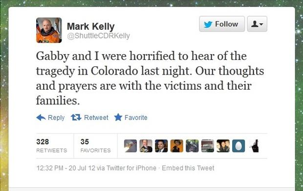 Giffords Kelly Tweet Aurora