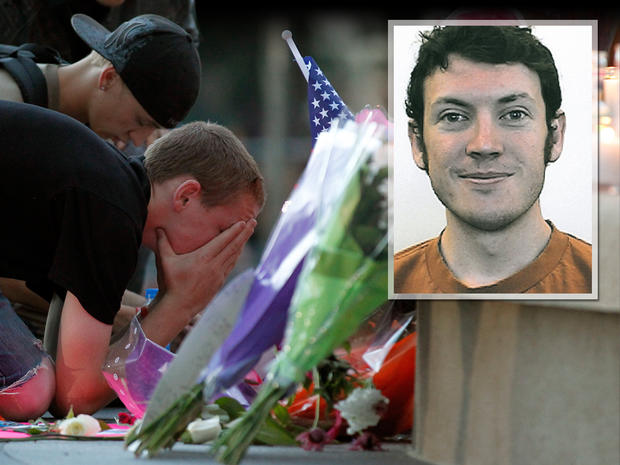 James Holmes, inset, A man holds his face in his hands in front of a memorial after a prayer vigil