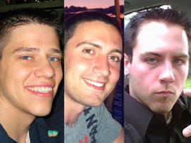 From left to right: Jon Blunk, Alex Teves and Matt McQuinn were killed at a midnight movie theater shooting in Aurora, Colo., Friday while protecting their girlfriends from bullets.