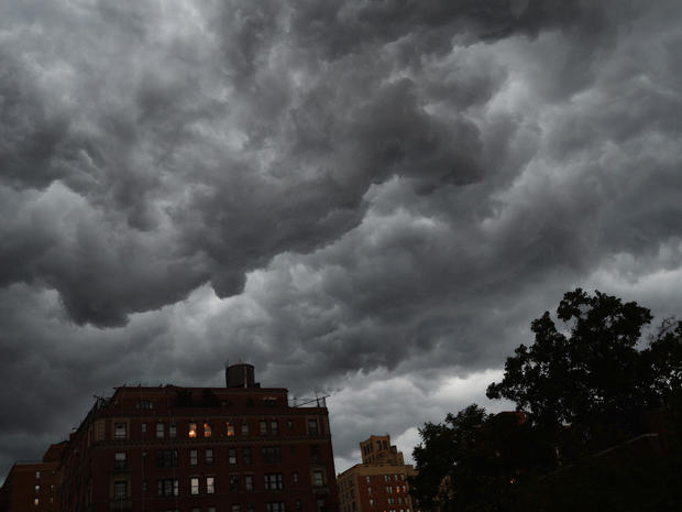 Storm clouds gather over Manhattan's east side