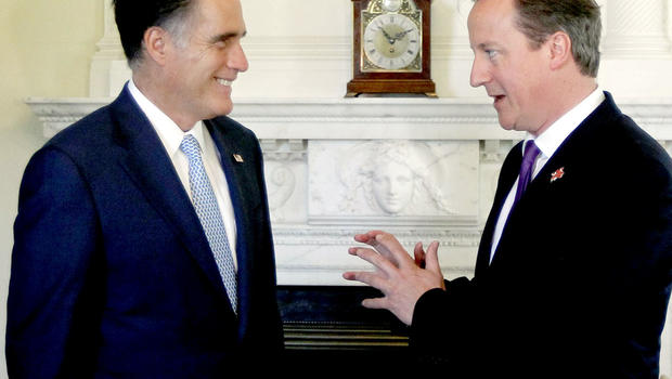 Republican presidential candidate Mitt Romney meets with British Prime Minister David Cameron at 10 Downing Streetâ