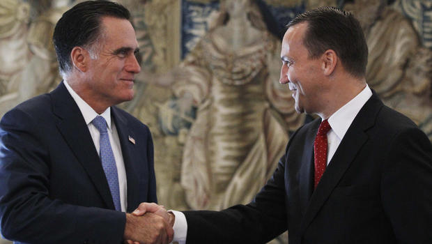 Republican presidential candidate and former Massachusetts Gov. Mitt Romney meets with Poland's Foreign Minister Radoslaw Sikorski in Warsaw, Poland, Tuesday, July 31, 2012.