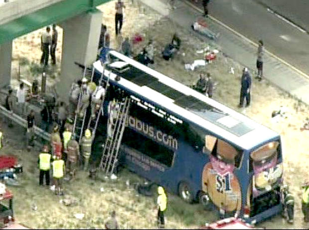 A Megabus crashed into a concrete bridge pillar Thursday afternoon after blowing a tire, Illinois state police said.