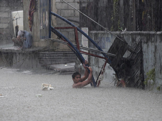 Quezon City, north of Manila, innundated by flood water