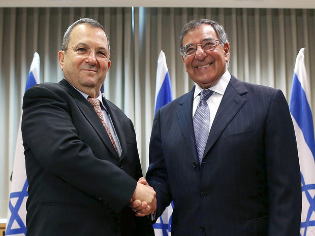 Secretary of Defense Leon Panetta shakes hands with Israeli Defense Minister Ehud Barak