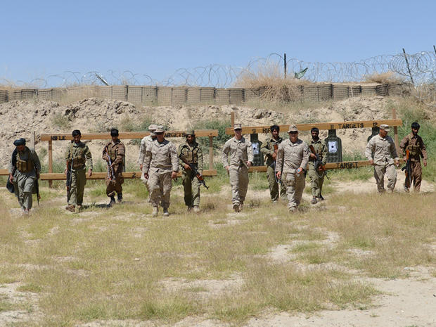 U.S. Marines and Afghan local policemen (ALP) during a training session