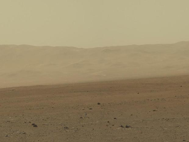This color image from NASA's Curiosity rover shows part of the wall of Gale Crater, the location on Mars where the rover landed on Aug. 5, 2012 PDT.