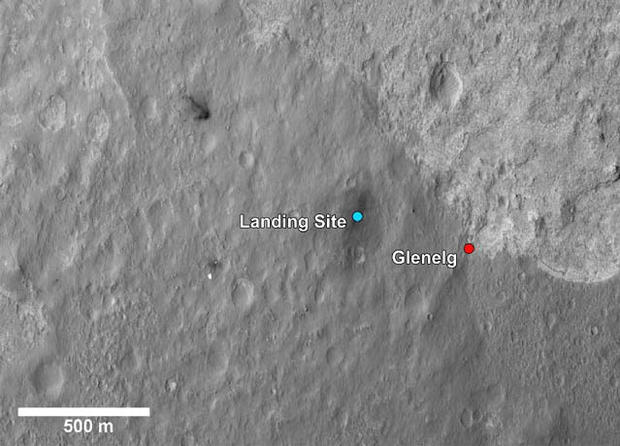 This image shows a closer view of the landing site of NASA's Curiosity rover and a destination nearby known as Glenelg. Curiosity landed inside Gale Crater on Mars on Aug. 5 PDT (Aug. 6 EDT) at the blue dot. It is planning on driving to an area marked wit