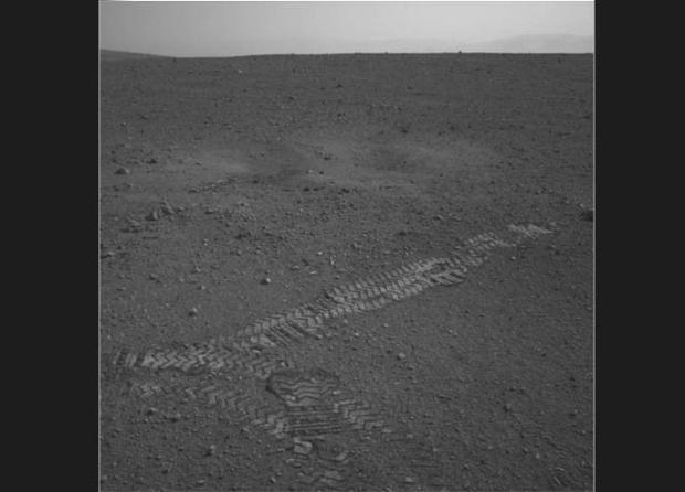 Tracks in the Martian soil from Curiosity's first test drive on Aug. 22.