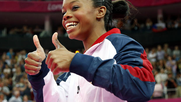 U.S. gymnast Gabby Douglas celebrates after she won the artistic gymnastics women's individual all-around final at the London 2012 Olympic Games Aug. 2, 2012.