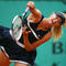 Maria Sharapova of Russia serves for a backhand